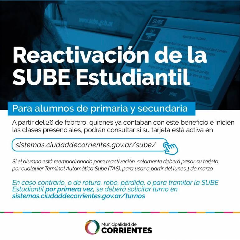 Corrientes: Ya está disponible la SUBE estudiantil para los que inician clases presenciales 0