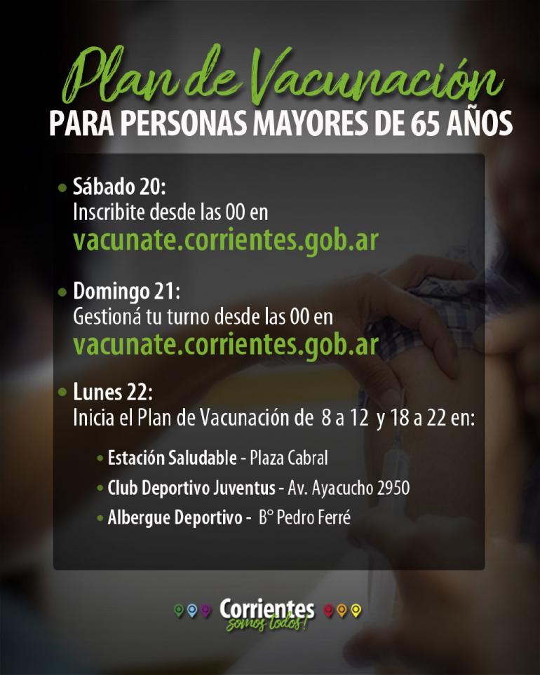Comenzará la inscripción para la vacunación a mayores de 65 años  en Corrientes 0